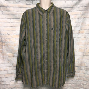 The North Face Green Striped Button Long Sleeve XL